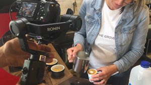 Filming coffee shop